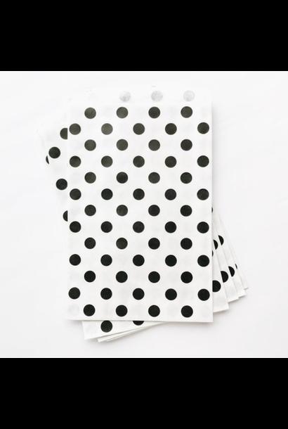 Traktatiezakjes zwart polka dot (12st)