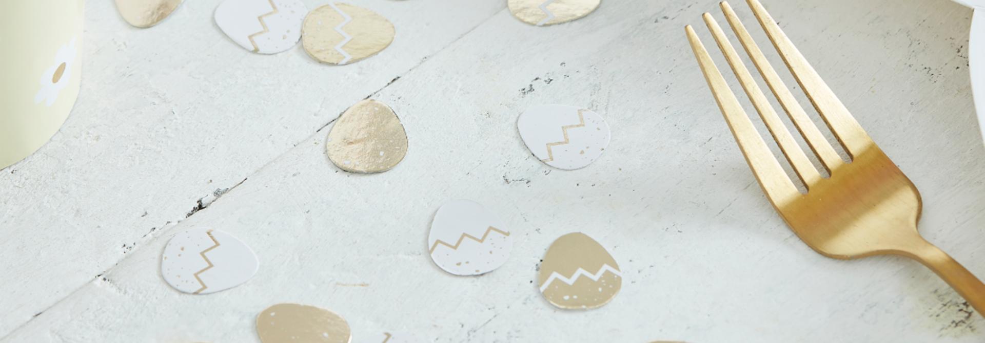 Tafelconfetti paaseieren goud wit Ginger Ray