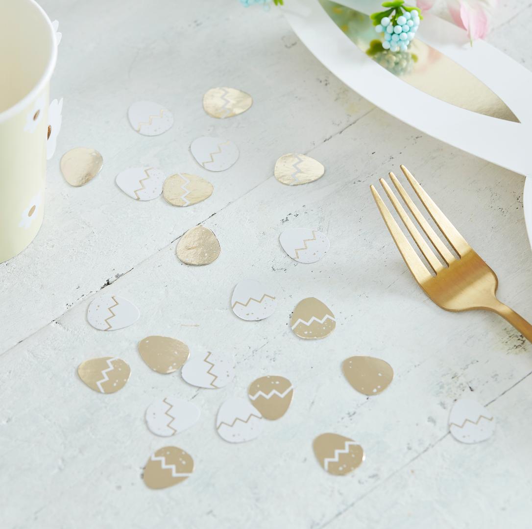 Tafelconfetti paaseieren goud wit Ginger Ray-1