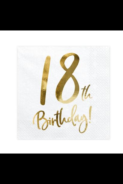 Servetten 18th Birthday goud (20st)