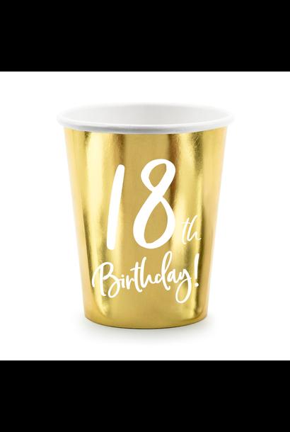 Bekertjes 18th Birthday goud (6st)