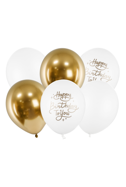 Ballonnenmix Happy Birthday to you goud wit(6st)