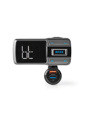 Nedis CATR101BK Fm-transmitter Voor In De Auto Bluetooth® Bass Boost Microsd-kaartsleuf Handsfree Bellen Spraakbediening 3,0 A / 2,4 A