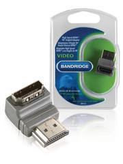 Bandridge Bandridge BVP133 High Speed Hdmi Met Ethernet Adapter 90° Haaks Hdmi-connector - Hdmi Female Grijs