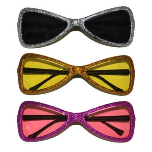 Bril glitter 'Strik' keuze uit 3  kleuren nr 190