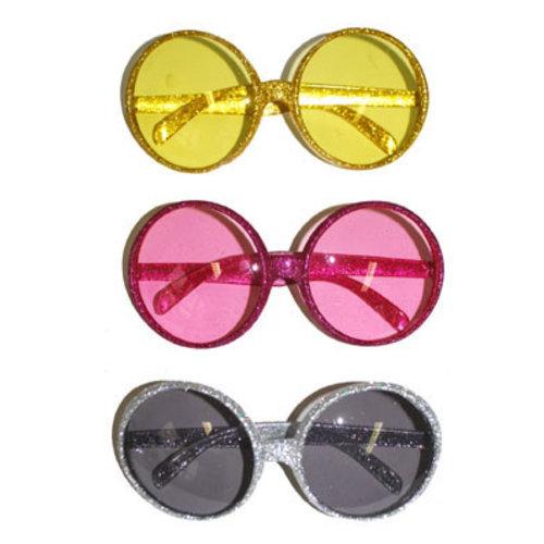 Bril glitter ronde glazen ass kleuren nr 193