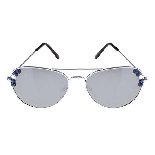 Bril spiegelglas met steentjes nr 68