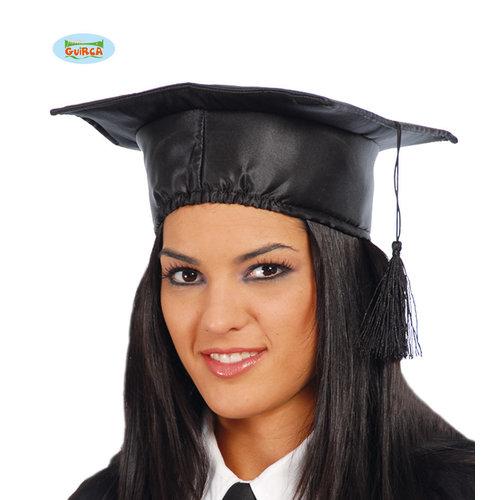 Afstudeer hoedje zwart blinkend met flosje