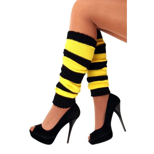Beenwarmers geel/zwart one size