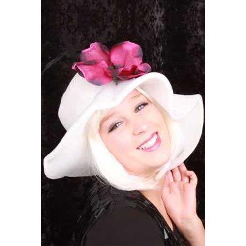 Dames hoed wit open bovenkant met bloem