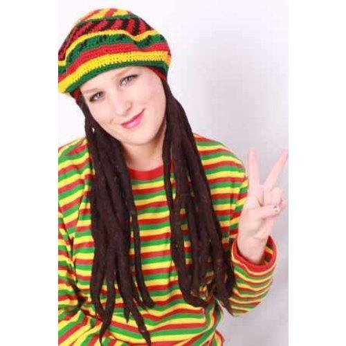 Bob Marley baret/pet met rasta haar