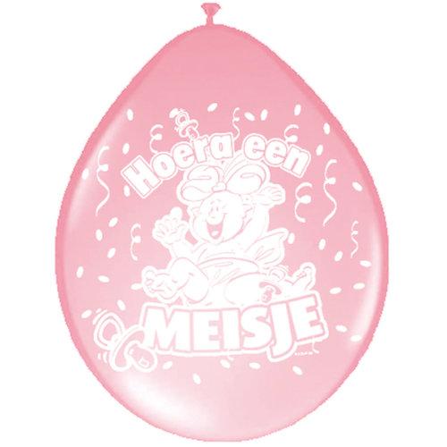 Ballons 'Hoera een meisje' 8st, 30cm