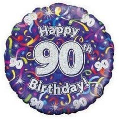 Ballon 'Happy 90th Birthday', 45cm/folie