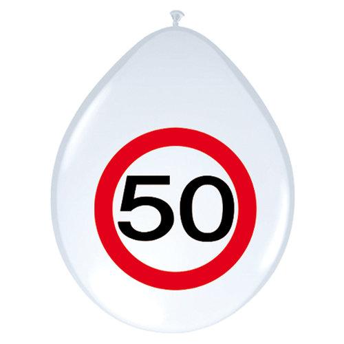 Ballon 'Verkeersbord 50 jaar' 12inch/30cm, 8st