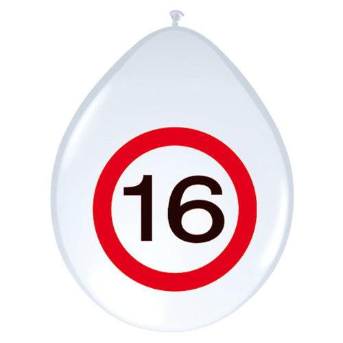 Ballon 'Verkeersbord 16 jaar' 8st 12inch/30cm