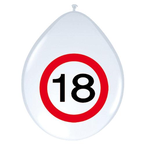 Ballon  'Verkeersbord 18 jaar' 8st 12inch/30cm