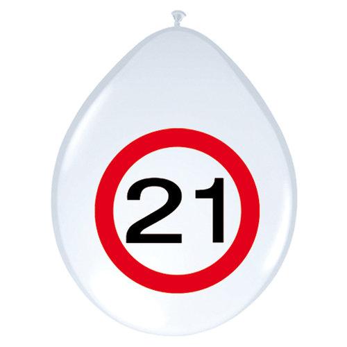 Ballon 12inch/30cm 'Verkeersbord 21 jaar' 8st