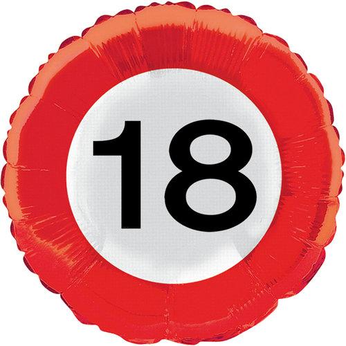 Ballon foil verkeersbord '18'