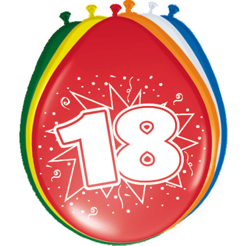 Ballons '18 jaar', 8st 30cm