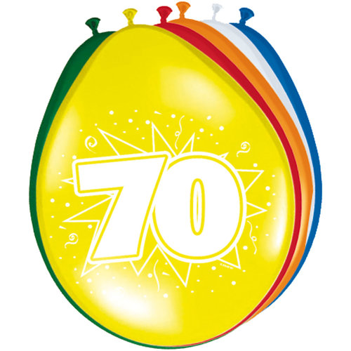 Ballons '70 jaar', per 8st