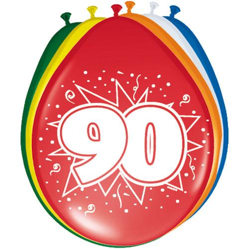 Ballons '90 jaar', 8st 30cm