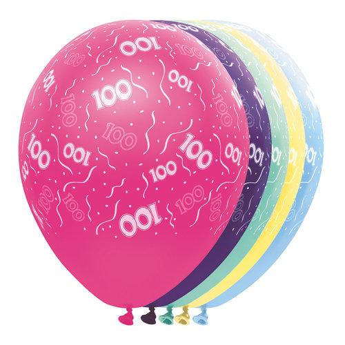 Ballons metallic '100 jaar'/5st,30cm