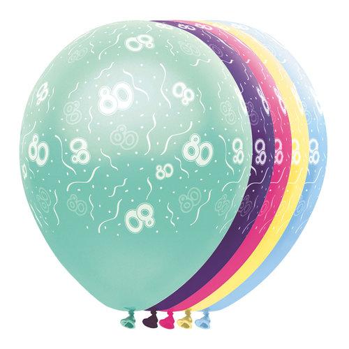 Ballons metallic '80 jaar',5st/30cm