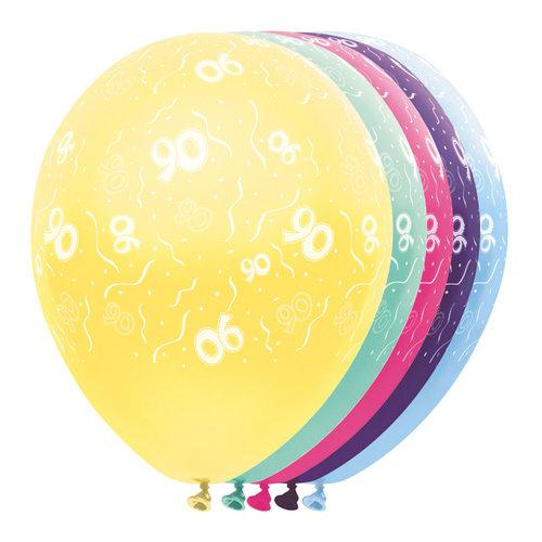Ballons metallic '90 jaar',5st/30cm