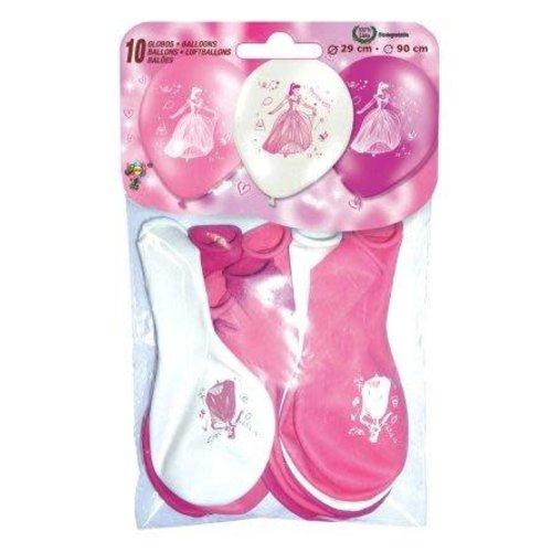 Ballons per 10, 2-zijdig prinses roze/wit