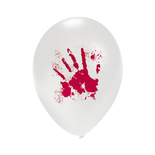 Ballons wit 'Bloody Hands'