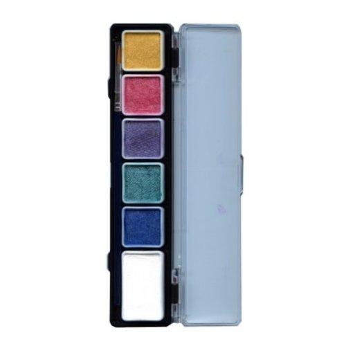 Aqua schminkpallet 6 metallic kleuren