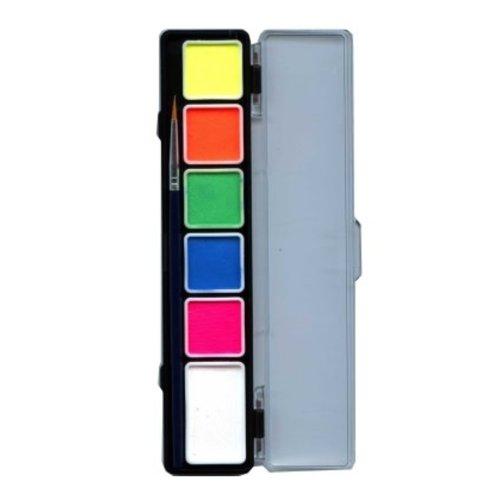 Aqua schminkpallet + penseel 6 kleuren neon