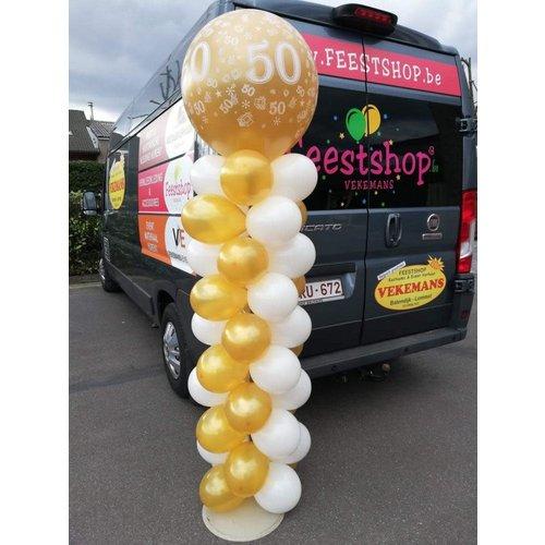 Ballonzuil met topballon 50 jaar goud