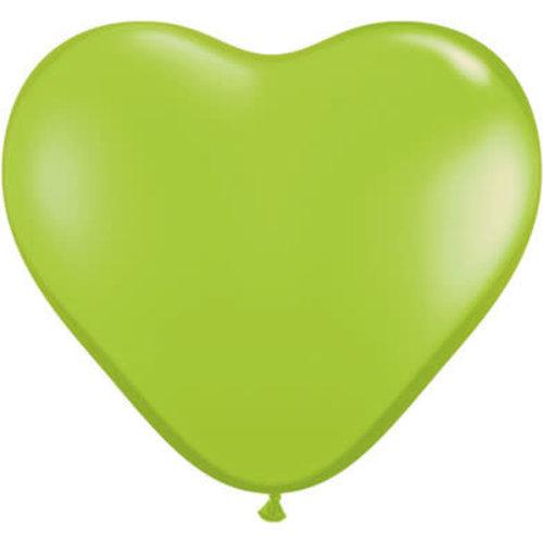Ballon nr 6 hart vorm groen lime per 100 stuks qualitex