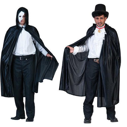 Funny Fashion Cape Shine met kap zwart
