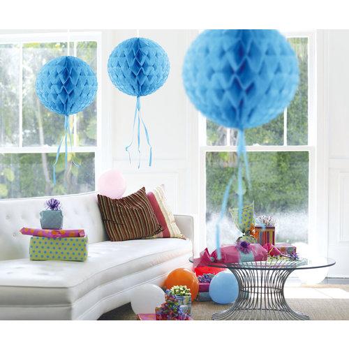 Deco huwelijk 'Honeycomb bal' baby blauw, 30cm