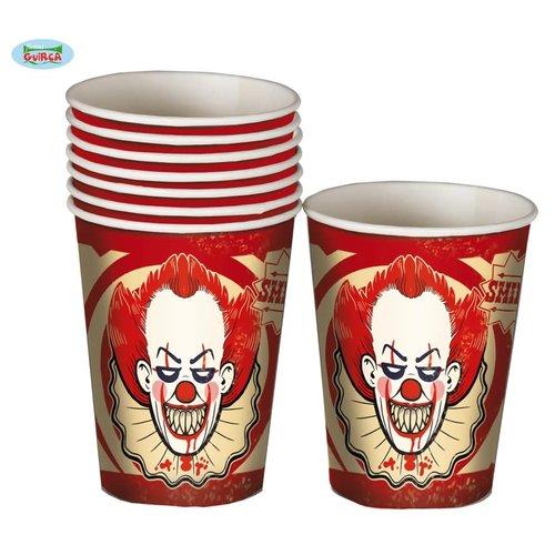Bekers 'Halloween Clown' per 8st
