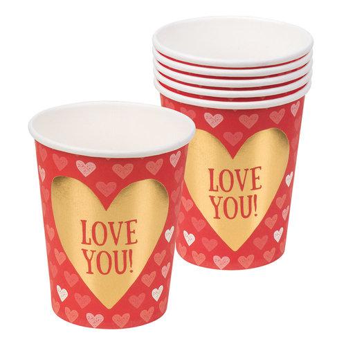 Set 6 Papieren bekertjes Love (25 cl)