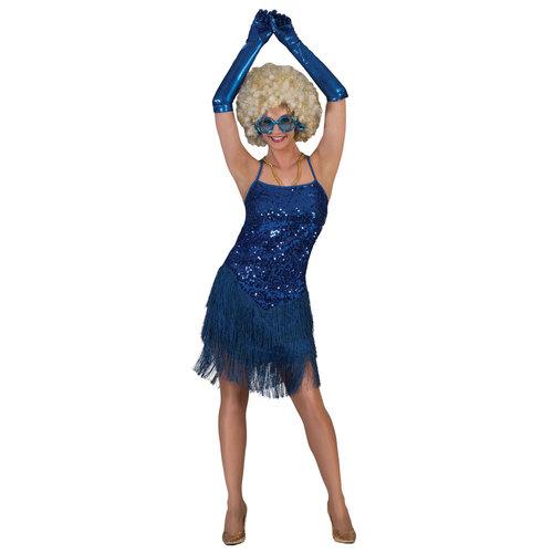 Funny Fashion Charleston dame Fringie Flapper glitter blauw