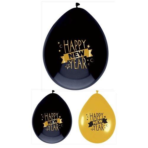 Ballon 'Happy New Year' zwart/goud, 30cm per 6st