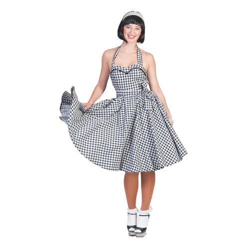 Funny Fashion 50's & 60's Kleedje zwart wit