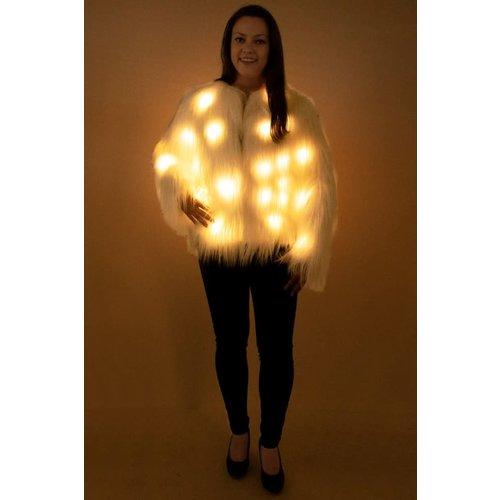PartyXplosion Bontjas dames lang wit haar met licht