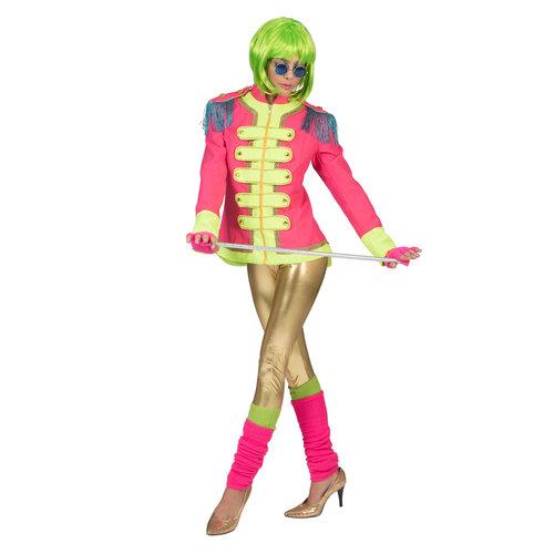 Funny Fashion Beatles jas dame fluo roze