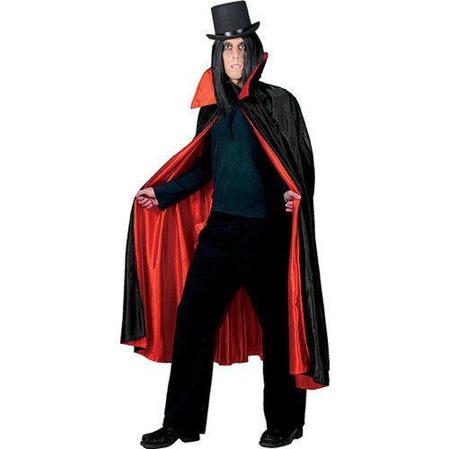 Funny Fashion Cape Dracula zwart/rood gevoerd