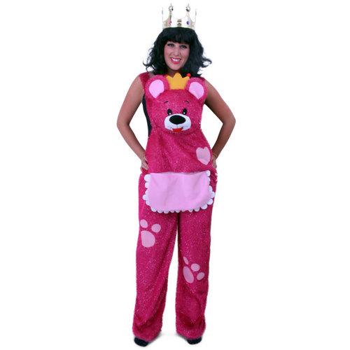 PartyXplosion Tuinbroek teddybeer roze glitters