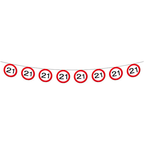 Vlaggenlijn papier Verkeersbord 21