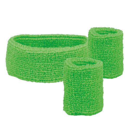 Set 'Zweetbandje + 2 polsbandjes' fluo groen
