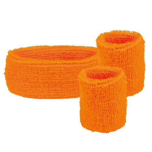 Set 'Zweetbandje + 2 polsbandjes' fluo oranje