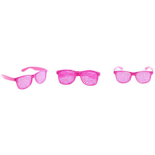 Funny Fashion Bril parels fluo pink