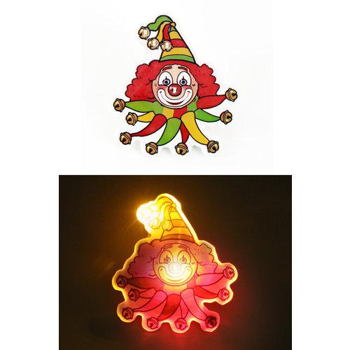 PartyXplosion Broche met licht clown rood/geel/groen
